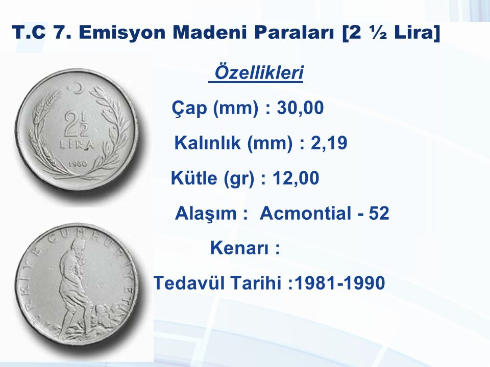 T.C 7. Emisyon Madeni Paraları [2 ½ Lira]